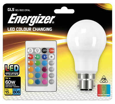 £9.99 • Buy Energizer Colour Changing Light Bulb B22 GLS LED RGB+W With Remote Control