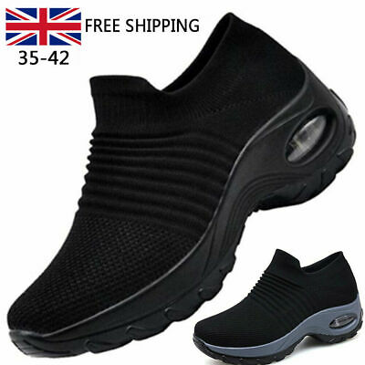 Womens Trainers Air Cushion Slip On Breathable Sneakers Sport Running Shoes Size • 12.88£