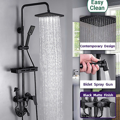Black Shower Set Bathroom Thermostatic Mixer Square Twin Head Exposed Valve UK • 43.69£