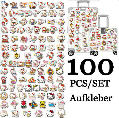 100X Cartoon Hello Kitty Stickers Laptop Skateboard Luggage Wall Decals Cute UK • 6.62£