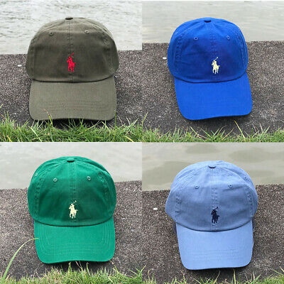 £8.99 • Buy Polo Baseball Cap Embroidery Pony Adjustable Hat Royal Blue Baby Green Olive