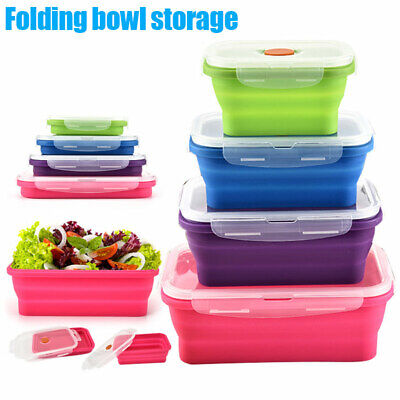 Portable Silicone Bento Box Folding Lunch Bowl Food Storage Container Boxes Case • 6.20£