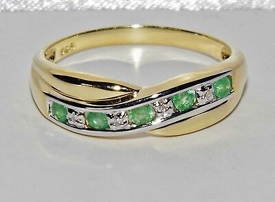 9ct Yellow Gold & Silver Emerald & Diamond Crossover Eternity Ring Size N • 45£