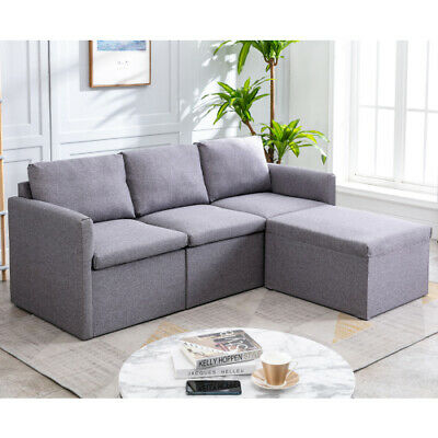 Corner Sofa Bed Storage L Shaped 3 Seater Fabric Settee With Ottoman Morden Sofa • 299.99£