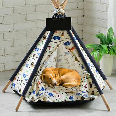 Large Pet Teepee Bed Cat/Kitten/Dog/Puppy Igloo Play Tent Tipi House Cushion Mat • 26.95£