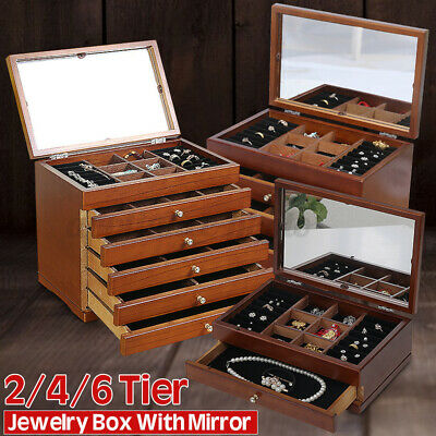 UK Large Wooden High Gloss Jewellery Box Rings Necklace Storage Organizer Cabin • 21.99£