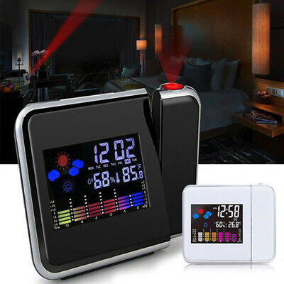 AU20.79 • Buy Digital Alarm Clock LED Time Projector Weather Thermometer Snooze LCD Color AU
