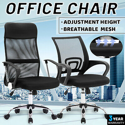 AU109.90 • Buy Office Home Computer Chair Mid High Cloth Backrest Adjustable Ergonomic Chair