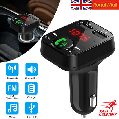 Wireless Bluetooth Car Kit FM Transmitter MP3 Player 2Port USB Charger Handsfree • 3.20£