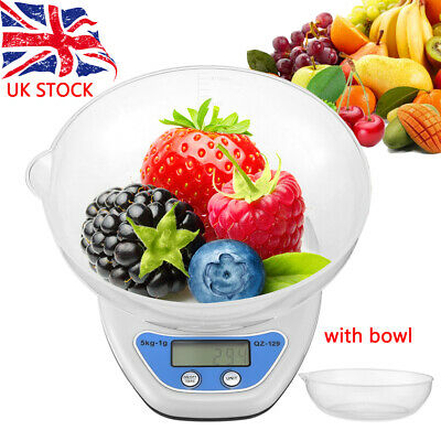 5Kg Digital Kitchen Scale Electronic Household Food Cooking Weighing Bowl Scales • 6.99£