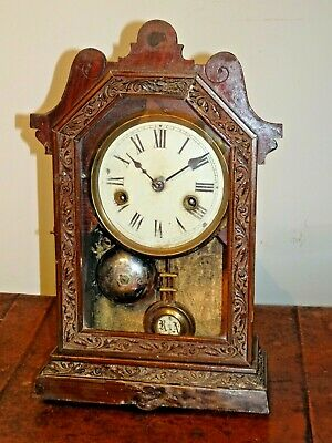 Antique 19th Century Oak American Mantel Clock With Chime Bell Pendulum Key Time • 149.95£
