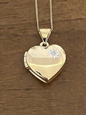 9ct Gold Diamond Heart Locket And Chain • 59£