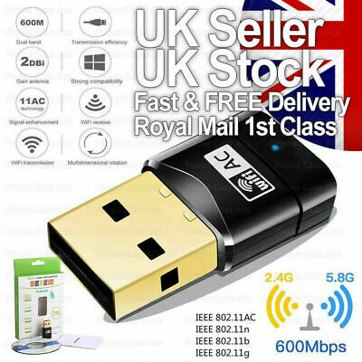 £5.99 • Buy 600 Mbps 2.4-5ghz USB Dual Band Wireless Adapter WiFi Dongle 802.11 AC Laptop PC