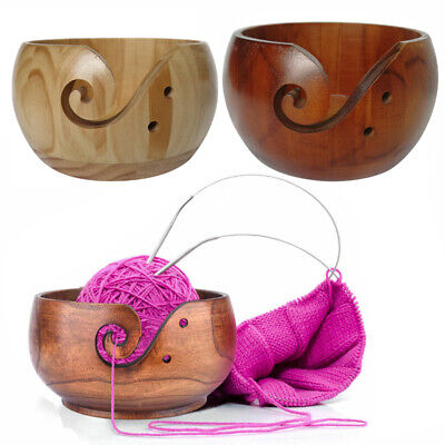 Wood Yarn Bowl 15x8cm Holder Bowls For Knitting Crochet Yarn Winder Accessories • 13.49£