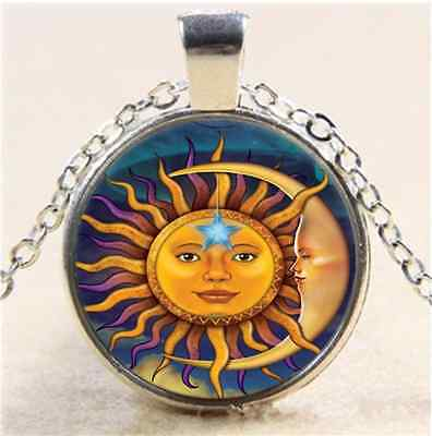 £3.88 • Buy Moon And The Sun Photo Cabochon Glass Tibet Silver Chain Pendant  Necklace