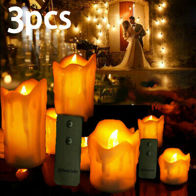 3*Candle Flameless LED Real Wax Lights Flickering Candles Wedding Remote Control • 8.88£