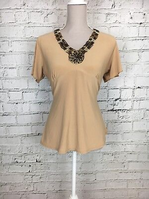 £15.30 • Buy Womens FOREVER BY MICHAEL GOLD Camel Short Sleeve Tie Waist Top Size M