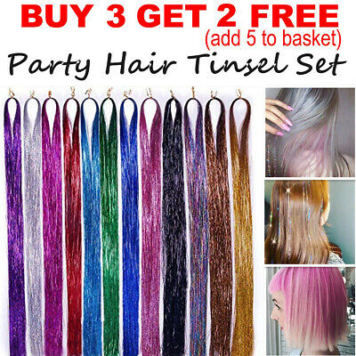 250 Strands Holographic Sparkle Hair Glitter Tinsel Extensions Dazzles 48  Long • 0.99£
