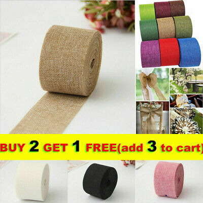 WQ 33ft Burlap Ribbon Roll Hessian Jute Fabric Rustic Wedding Christmas DIY Dec • 5.82£