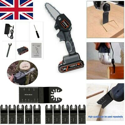 550W Cordless Electric Mini Chain Saw Rechargeable Wood Cutter Kit Woodworking • 58.99£