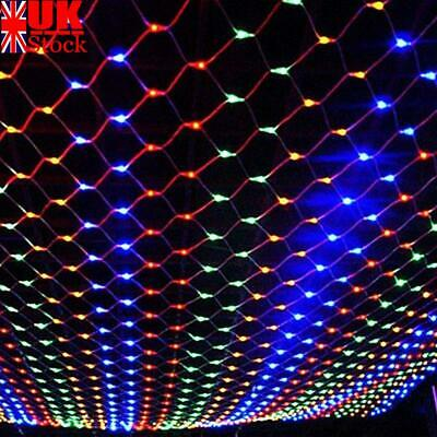 LED String Fairy Net Light Curtain Mesh Light Christmas Tree Party Outdoor Decor • 12.69£