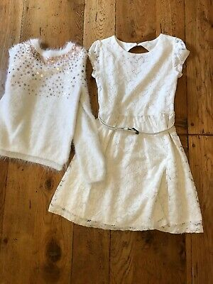 Girls White Lace Dress And Jumper, 7/8 Years Old • 4.90£