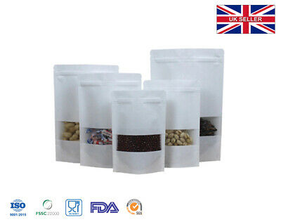 White Kraft Paper Re-sealable Bag Pouch With Window Heat Seal Food Grade • 4.99£