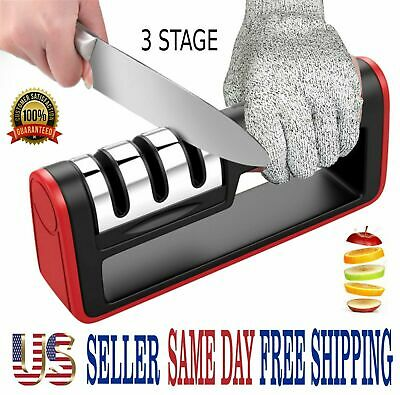 $7.69 • Buy KNIFE SHARPENER PROFESSIONAL CHEF SYSTEM Ceramic Tungsten Diamond 3 Stage Tool