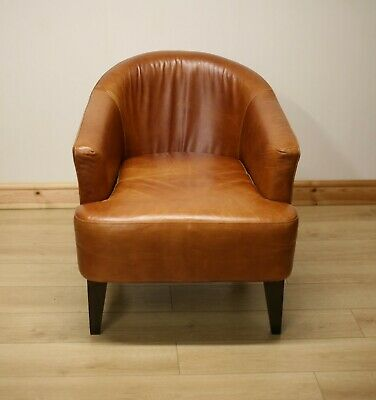Marks & Spencer Tan Leather Club Armchair / Chair 1 Of 2 • 379£