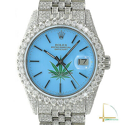 $ CDN16670.29 • Buy Rolex Datejust Watch Iced Out Real Diamonds 4/20 Leaf Blue Dial Jubilee 36mm