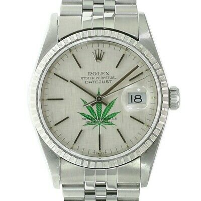 $ CDN9156.03 • Buy Rolex Mens Datejust Watch Stainless Steel Silver 4/20 Leaf Dial 36mm 16220