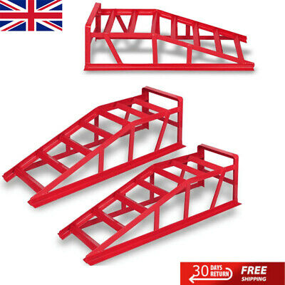 2x Wide Car Ramps 2000kg Vehicle Motor Maintenance Lifting Jack Equipment Tool • 77.09£