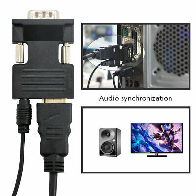 1080P HDMI Female To VGA Male With Audio Output Cable Converter Adapter New UK • 3.43£