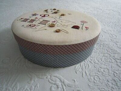 10  Round 6 Compartments Hand Embroidered Sturdy Cardboard SEWING BOX  L@@K • 19.53£