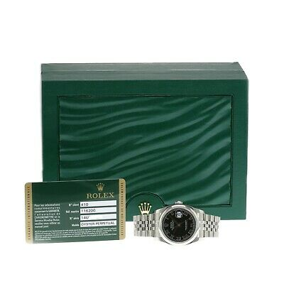 $ CDN8874.56 • Buy Rolex Datejust Mens Watch Black Roman Dial With Oyster Band 36mm 116200