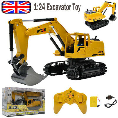 RC Excavator Remote Control Digger Truck Toy Car 1:24 Xmas Gift For Kid Children • 26.99£