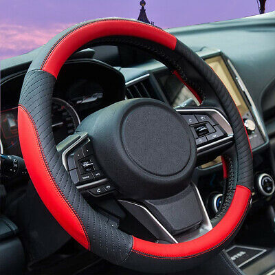 $17.57 • Buy Red PU Leather Steering Wheel Cover For Women Men Car Accessories Interior New
