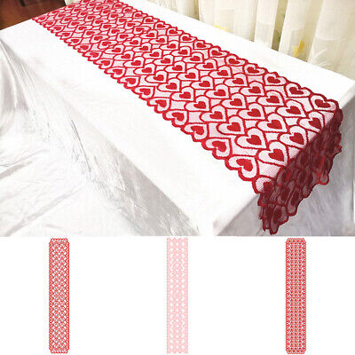 £3.57 • Buy Lace Table Runner Love Heart Tablecloth For Valentine's Day Party Decors 1.8m UK