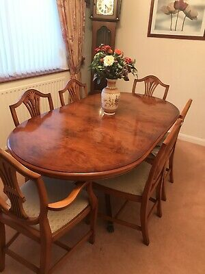 Reproduction Yew Burr Dining Table And Chairs • 300£