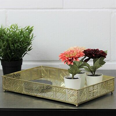 £14.95 • Buy Large Rectangle Gold Metal Mirror Jewellery Perfume Candle Display Tray Holder
