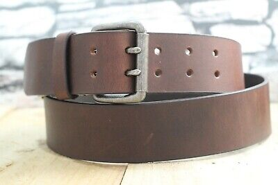 Double Pin Leather Belt 2  Width Top Grain Antique 3.6mm Thick Handmade In UK • 10.98£
