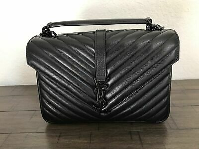 YSL YVES Saint Laurent 100% Authentic College Monogram Medium Bag Black • 499£