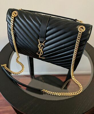 AUTHENTIC YSL Classic Large Monogram Saint Laurent Black Purse Leather Bag • 498£
