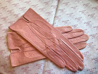 Dents Ladies Salmon Pink Fine Leather Gloves Unlined Size 6.5 Small Bnwot • 15.99£