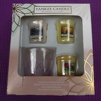 Yankee Candle Lovely Box Of 3 Sampler Candles & Glass Votive Holder New XMAS • 3.99£
