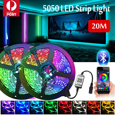 AU23.08 • Buy RGB LED Strip Lights IP65 Waterproof 5050 5M 10M 20M 300 LEDs 12V USB Bluetooth