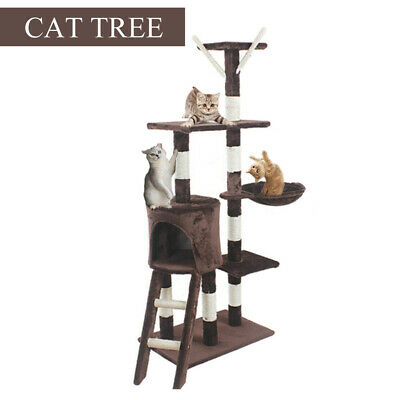 Large Cat Tree Tower Condo Furniture Scratching Kitty Kitten Play House 140cm UK • 28.90£