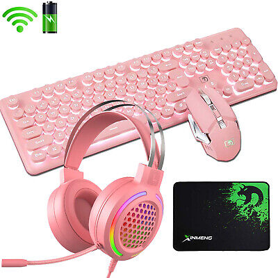 AU99.54 • Buy 4in1 Gaming Keyboard Mouse And Headset Combo Wireless LED Backlit 4800 MAh Pink
