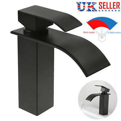 £22 • Buy Black Square Waterfall Bathroom Tap Basin Mixer Stainless Steel Sink Mono Faucet