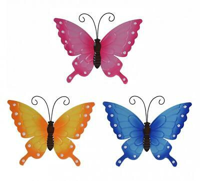 Colourful Metal 40x33cm Butterfly Garden Wall Art Decoration Ornament • 5.99£